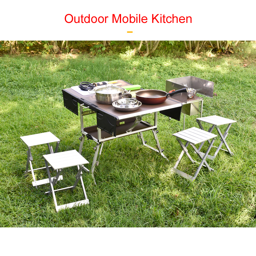 5-7 Person Outdoor Mobile Kitchen Foldable Picnic Table With Gas Stove And Tableware Cookware Set Camping Picnic C550/C650