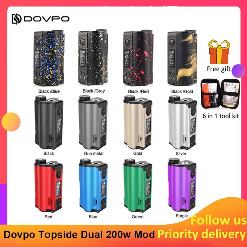 Original 200W DOVPO Topside double remplissage supérieur TC Squonk MOD avec 10ml Squonk bouteille e-cig Vape boîte Mod VS glisser 2/Naboo Mod