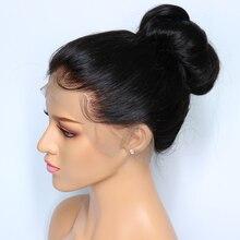 Önceden koparıp düz 360 dantel Frontal peruk ile bebek saç 150% yoğunluk İnsan saç dantel peruk siyah kadınlar için brezilyalı remy saç