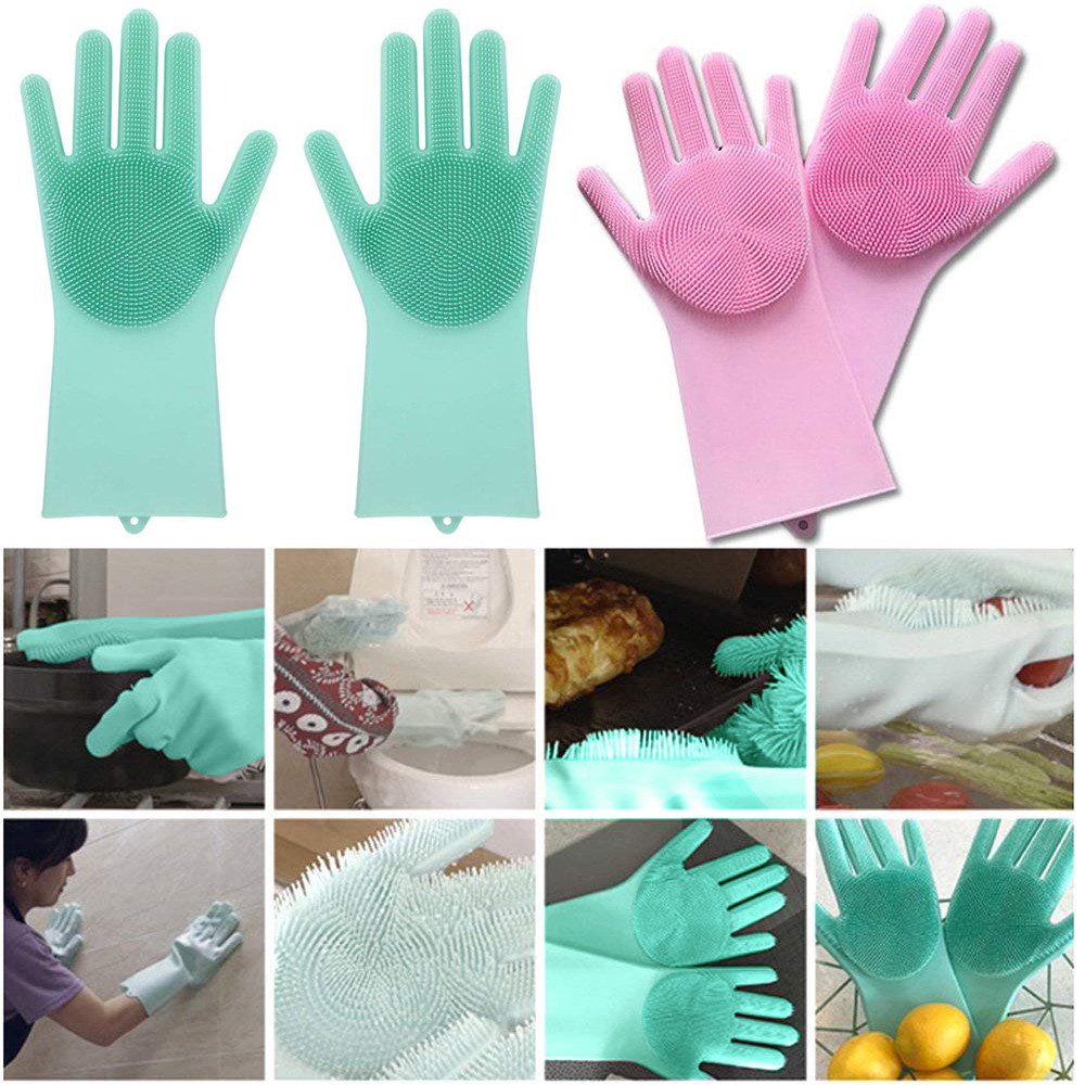 1 Pair Heat Resistant Magic Reusable Cleaning Brush Scrubber Silicone Gloves US