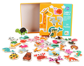 Big Size Flake Baby Wooden Puzzle Early Education Puzzle Cognitive Card Animal Fruit Cognition Pair Card Puzzle Montessori Game kids creative wooden puzzle iron box kindergarten baby early education cartoon animal traffic puzzle cognitive interactive game