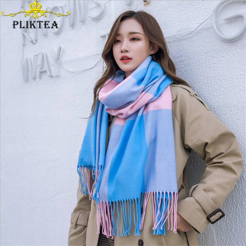 Patchwork Blue Merino Wool Scarf For Women Shawl Winter Cashmere Plaid Scarves Pashmina Female Poncho Stole Ladies Hijab Scarf