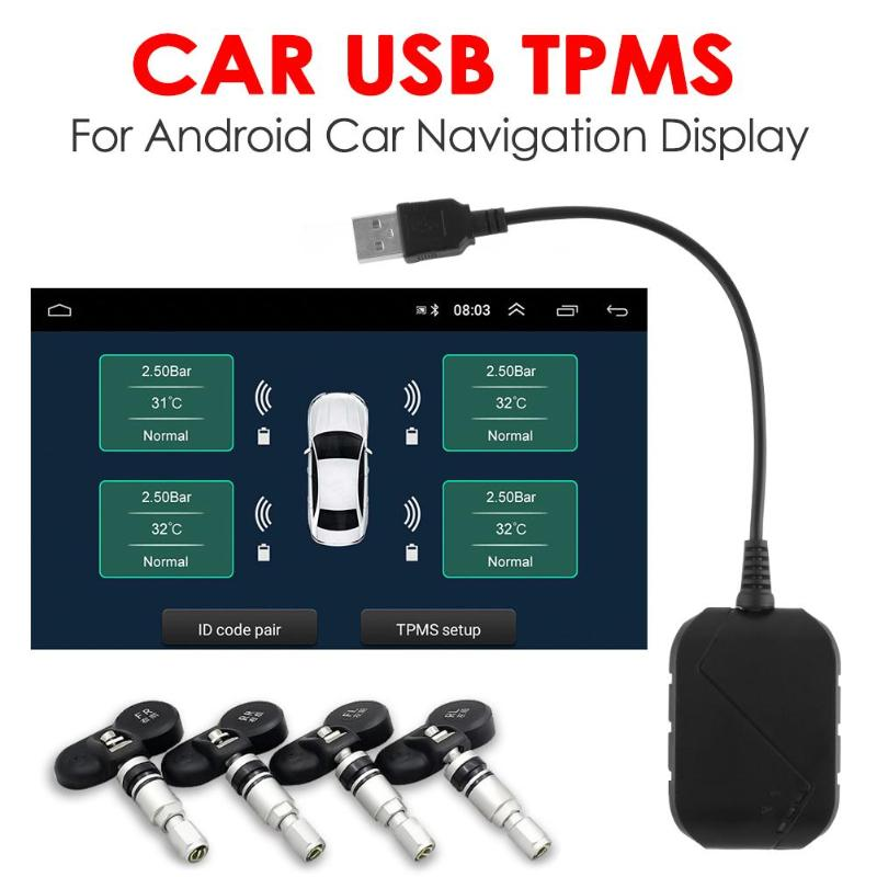 USB Car TPMS Auto Tire Pressure Monitoring Alarm System for Auto Android Navigation with 4 External/Internal Sensors