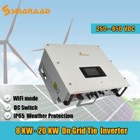 Solar Power On Grid 8000W 10000W 8KW 10KW 15kw 20kw Input MPPT Waterproof IP65 Grid Tie Solar Power Inverter with Wifi DC Switch