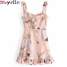 Boho Sling Mini Dress Women Bow Tie Shoulder Off Vintage Print Ruffle Dress Lady Sleeveless Boho Beach A-line Mini Dress Female tie dye sleeveless a line mini dress