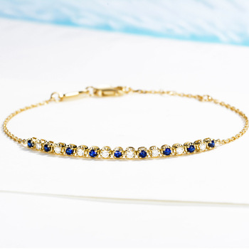 2019 Vintage Diamond Natural Sapphire 18K Solid Real Genuine Gold AU750 Wrap Bracelets Bangles for Women Fancy Gemstone Jewelry 1