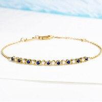 2019 Vintage Diamond Natural Sapphire 18K Solid Real Genuine Gold AU750 Wrap Bracelets Bangles for Women Fancy Gemstone Jewelry