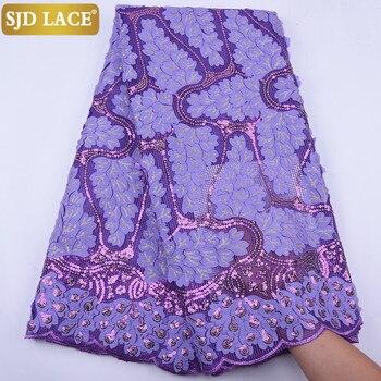 SJD de 2020 más nuevo africana de malla de tela de encaje con lentejuelas de tela con encaje de red francés Embroiderey apliques con diseño para la boda A1947