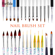 FlorVida Nail Art Brushes Set with Cap For Gel Polish 3D Ombre Lines Pen Kolinsky Sable Acrylic Brush For Nails Manicure Tools