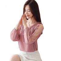 2019 New Lent Korean Long Mouths Chiffon Tops Women Mesh Transparent Pearls Kralen Shirt Loose Blouses Women Clothing CM1131