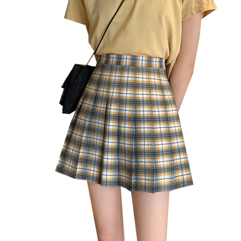Women Plaid Pleated Mini Skirts Preppy Style Ladies Short Skirts Summer Casual Womens Girls Skirt Fashion Student Pleated Skirt shein girls black solid button up belted casual girls skirts kids clothing 2019 spring fashion a line preppy long flared skirts