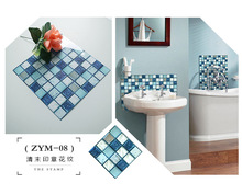 Free shipping new bathroom waterproof stickers ink blue wall renovation tile