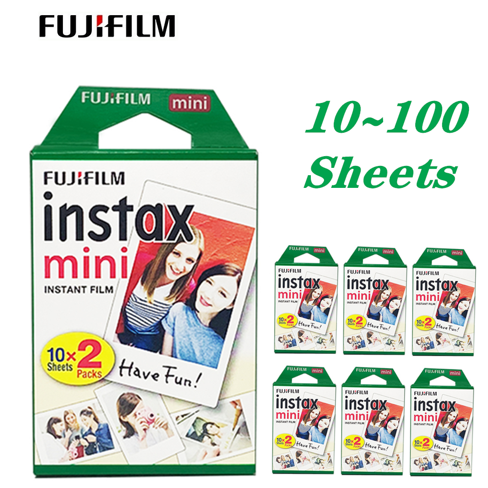 Fujifilm Instax Mini Film 10 20 30 40 50 60 100 Sheets 3 inch For FUJI mini 9 Polaroid Instant Photo Camera 8 7s 70 90 7c image