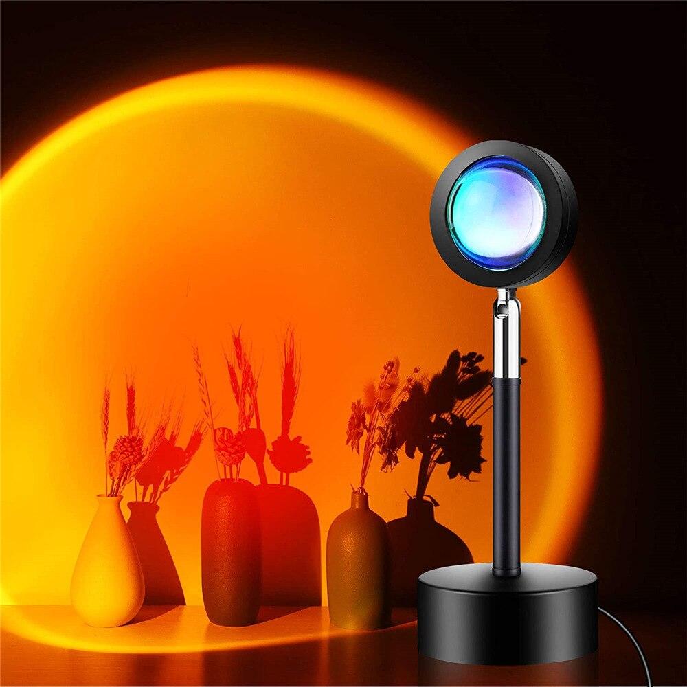 Лампа С закатом, Проекционные ночники, светодиодные лампы для живого вещания, Галактический проектор, атмосфера, радужная лампа, украшение