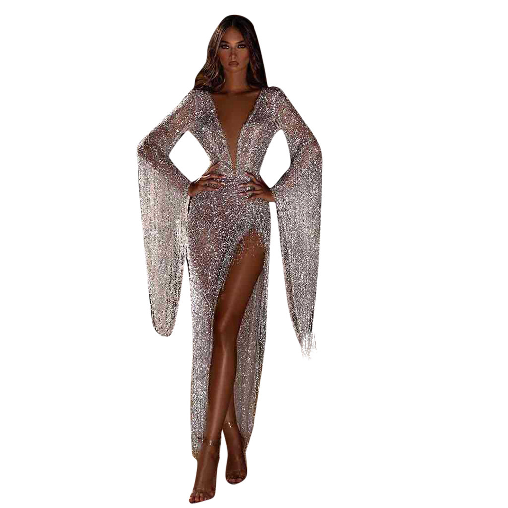 vestido de mujer Women s Sexy Pagoda Long Sleeve Sequined Tassels Cocktail Prom Gown Dress femme
