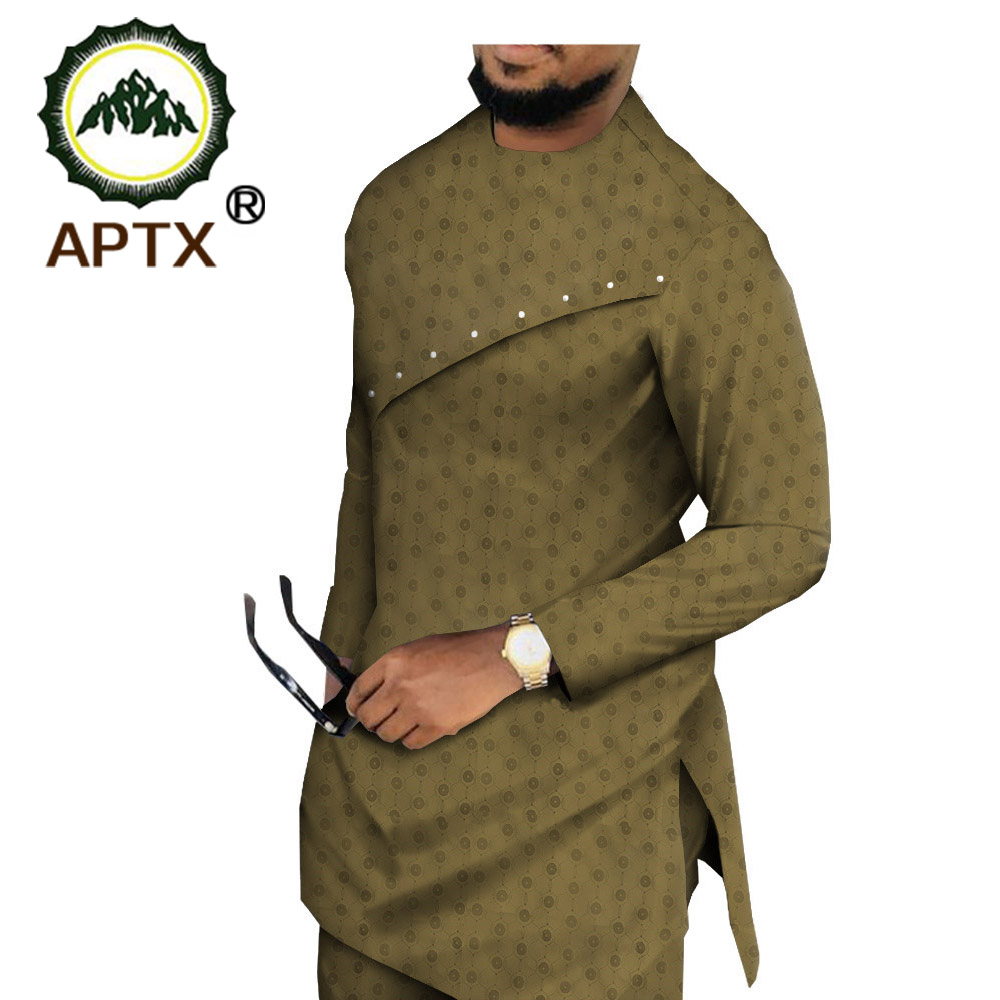 APTX Muslim Cotton Suit For Men Jacquard Fabric Full Sleeves Side Slit Top+ Slim Pants Men's Casual Suit T1916004