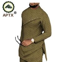Africa Fashion Men Set Bazin Jacquard Full Sleeves Side Slit Top+ Slim Pants Men's Casual Suit for Wedding or PartyT1916004