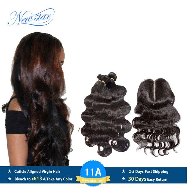 חדש כוכב שיער פרואני גוף גל 3 חבילות עם סגירת תחרה 100% לא מעובד בתולה שיער טבעי Weave הארכת ו 4x4 סגרים