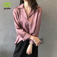 GOPLUS Womens Blouse Vintage Satin Shirt Chic Tops and Blouses Blusas Mujer De Moda 2019 Haut Femme Bluzki Damskie C9602