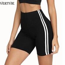 VERTVIE Women Fitness Leggings Yoga Shorts Cycling Biker Shorts Seamless Sport Legging Gym Sportswear High Waist Side Striped