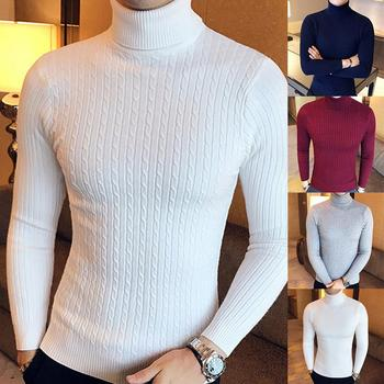 Casual Men Winter Solid Color Turtle Neck Long Sleeve Twist Knitted Slim Sweater Men's Knitted Sweaters Pullover Men Knitwear image