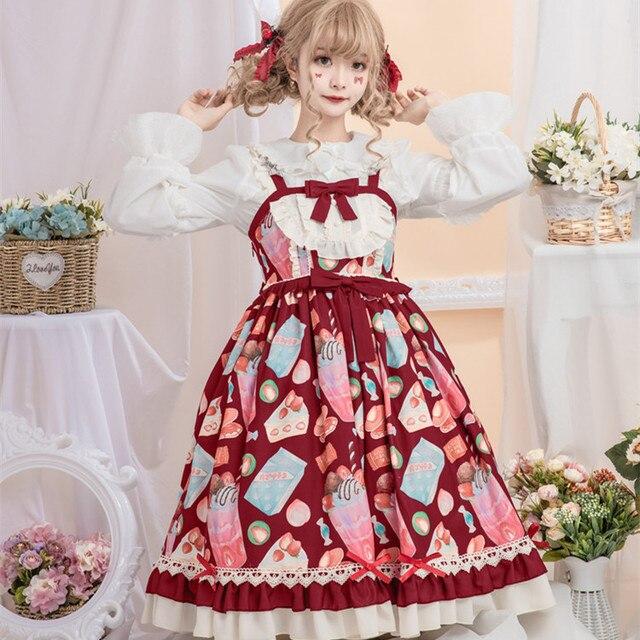 Купить японское платье лолиты винтажное кружевное с бантом милое принтом картинки цена