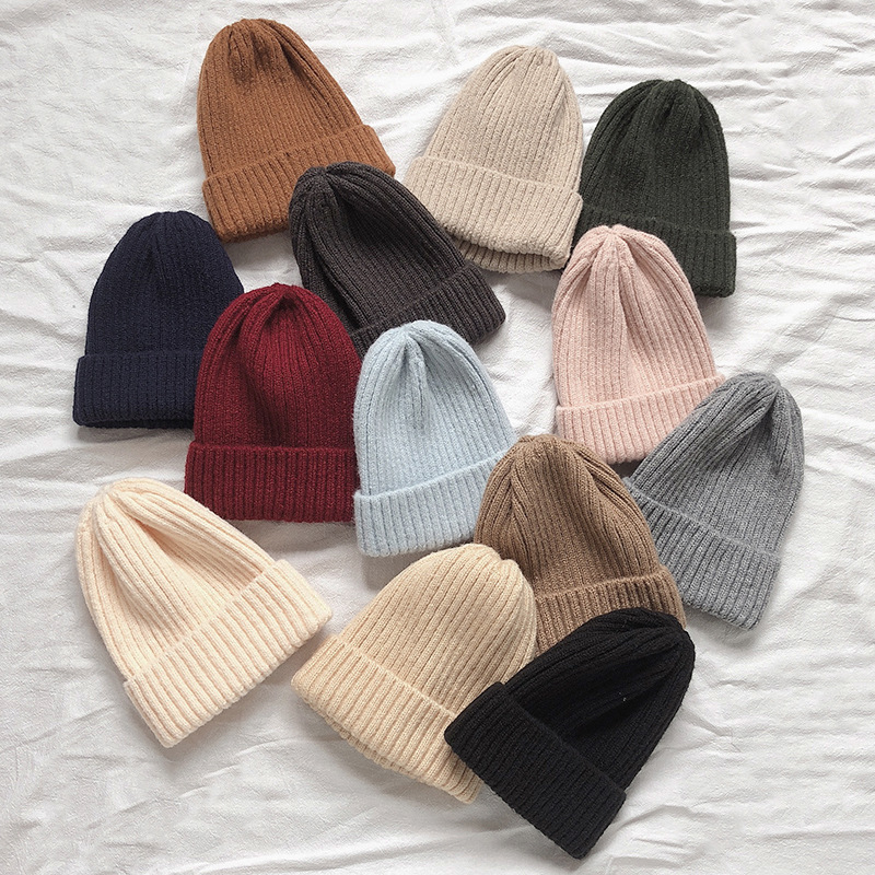 Helisopus Winter Korean Beanie Cap New Candy Color Casual Hip Hop Hat Acrylic Warm Elastic Knitting Hats For Women