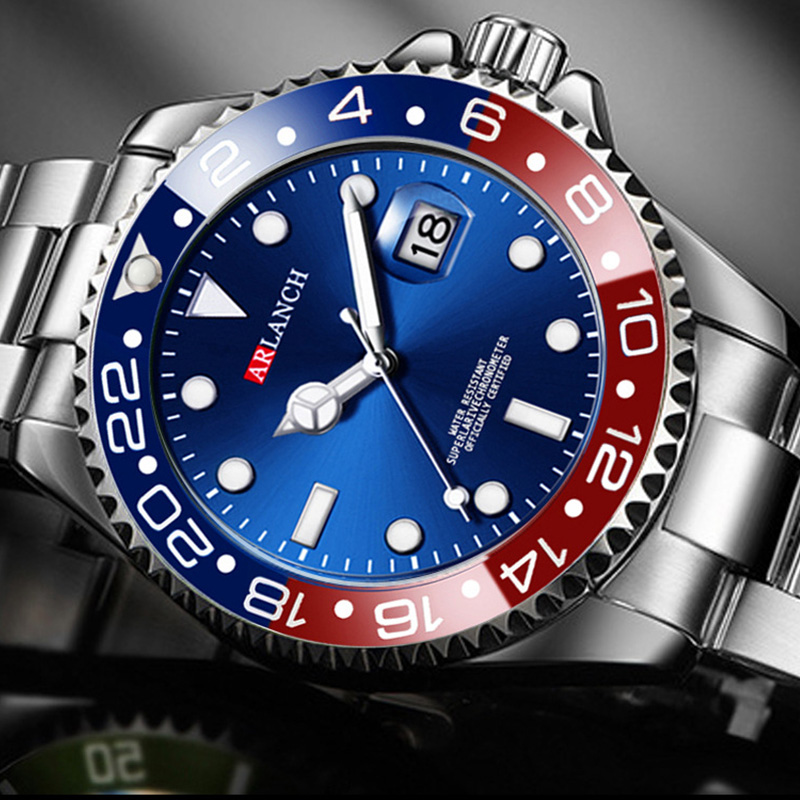 Mens Fashion Blue Watches Sports Quartz Clock Mens Watches Rolexable Luxury Rolexable Male Full Steel Casual Business Wristwatch