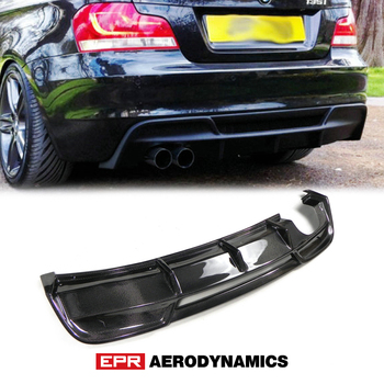 For BMW E82 E88 1 Series RIE Style Carbon Fiber Rear Diffuser Bumper Splitter (Fit E82 2Dr E88 2Dr convertible - Sports Model) image