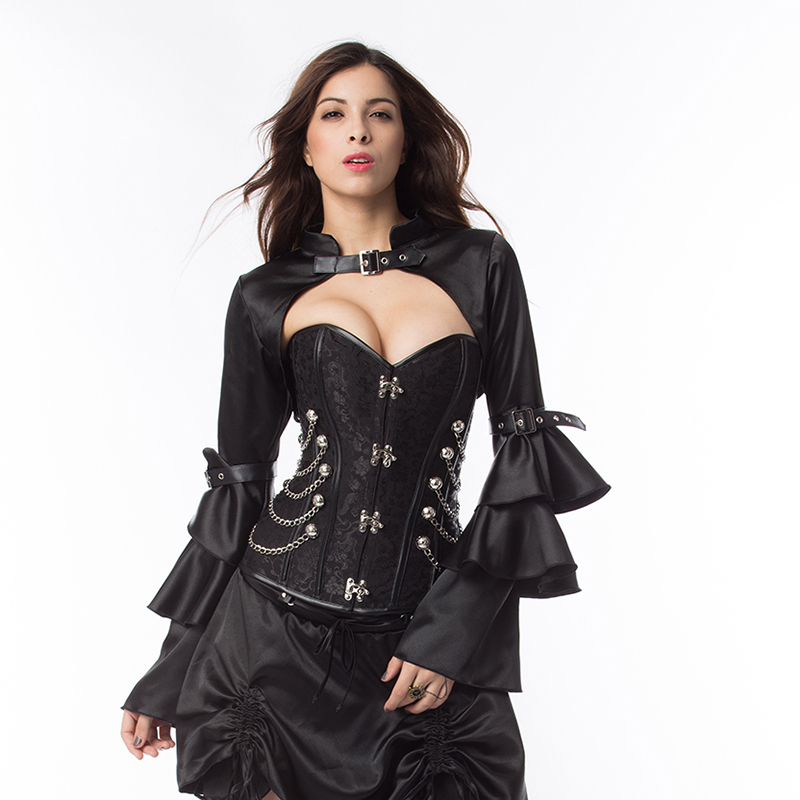 Black Steel Boned Corset And Bustier Top Sexy Punk Gothic Clothing Victorian Burlesque Costume Steampunk Korsett For Women 6XL