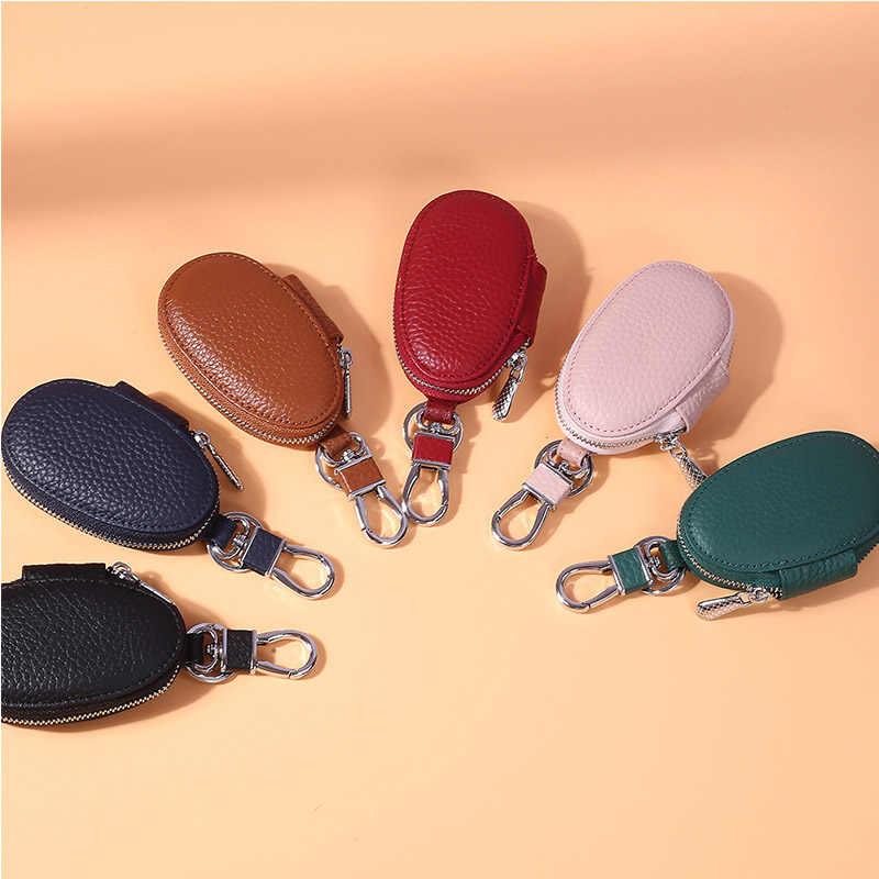 Mini kluczyk uchwyt na klucze do samochodu portfel torba typu worek brelok z prawdziwej skóry gospodyni obudowa kluczyka do samochodu Unisex Organizer woreczek na klucze torebka