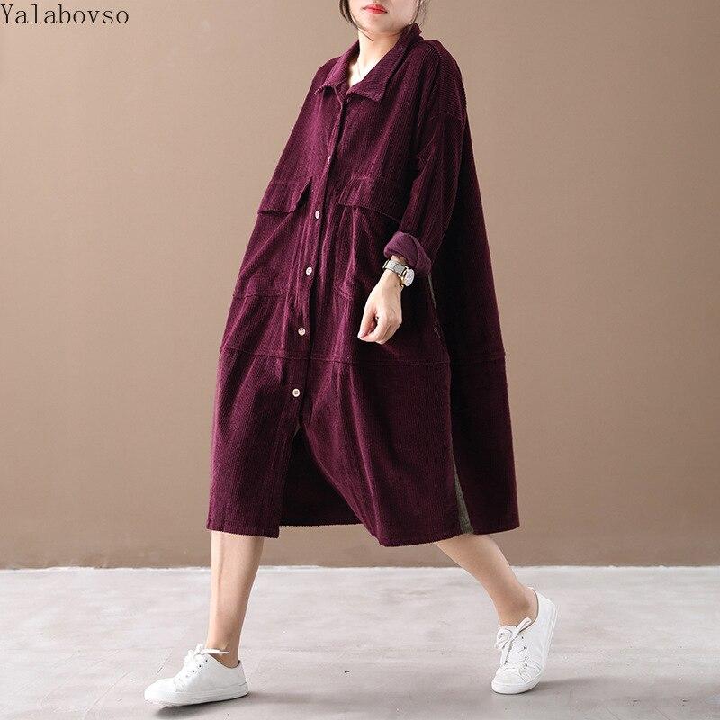2019 velours côtelé robe de grande taille femmes robe longue robe robe de grande taille es pour les femmes bouton robe CXC Z40