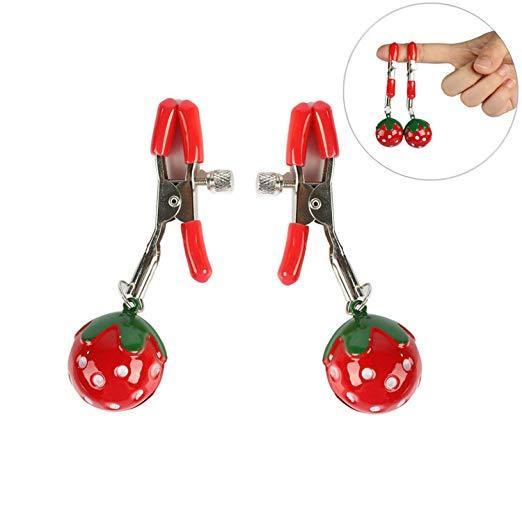 Pinzas ajustables para pezones de fresa hechas a mano, 1 par, pinzas para el clítoris, juegos sexuales para adultos, Juguetes sexuales para parejas, fetiche, pinzas para el pecho para labios