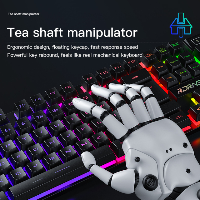 Gaming keyboard and Mouse Wired backlight mechanical felling keyboard Gamer kit Silent 3200DPI Gaming Mouse Set for PC Laptop 6