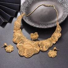 WANDO Dubai Jewelry Set Luxury Gold Color For Bride Women Big Nigerian Wedding African Necklace Earrings Rings Jewelry Sets mukun nigerian wedding african beads jewelry set brand bridal jewelry sets woman fashion dubai gold color jewelry set wholesale