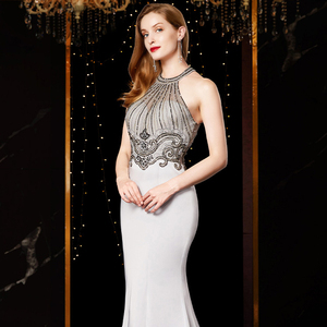 Image 5 - J18560 jancember sexy mermaid evening dress 2020 halter neck sleeveless beading lace silver evening dresses long vestido mujer