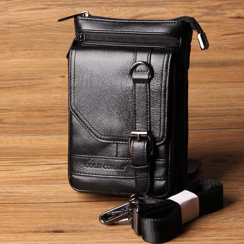 GOLD CORAL Genuine Leather Men Phone Bag Travel Shoulder Bags Mobile/Cell Phone Pouch Male Casual Crossbody Messenger Bags