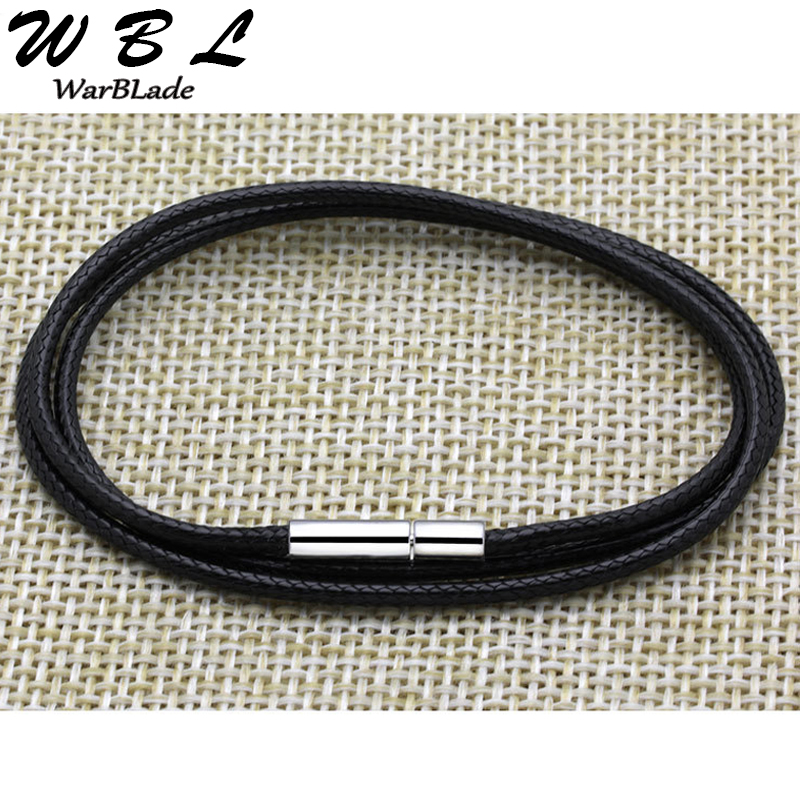 Necklace Cord Black Leather Cord Wax Rope Lace Chain With Stainless Steel Rotary Buckle For DIY Necklace Jewelry 1mm 1.5mm 2 3mm