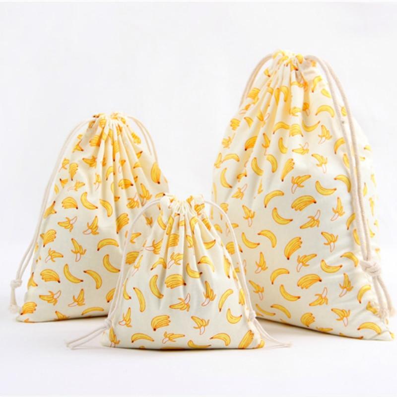 3 Size Fruit Design Printed Drawstring Bag Pocket Storage Pouch Banana Pattern Backpack Women Cotton Fabric Bags