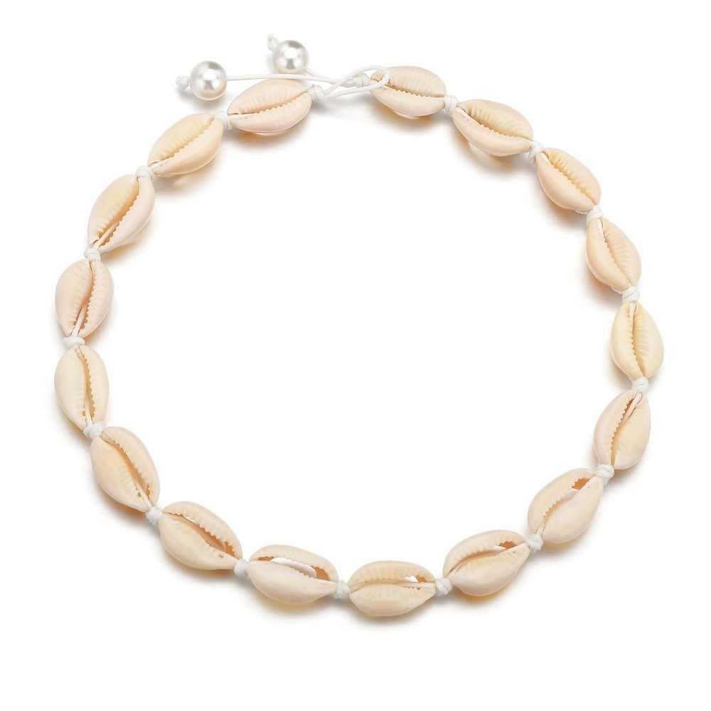 Hfarich Boho สีสันเชือกโซ่สร้อยคอเปลือกหอยผู้หญิง Ocean Beach Sea Shells Choker Chain สร้อยคอเปลือกหอยธรรมชาติผู้หญิงของขวัญ