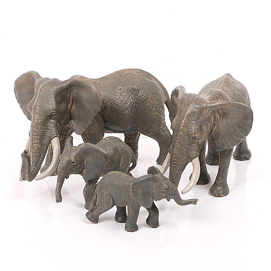 Modelo de elefante africano de plástico realista, figura de ação de coleção para crianças, brinquedos educativos