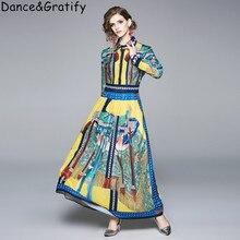 High Quality Luxury Brand Designer Runway Dress New 2019 Autumn Women's Turn-down Collar Floral Print Long Maxi Shirt Dress
