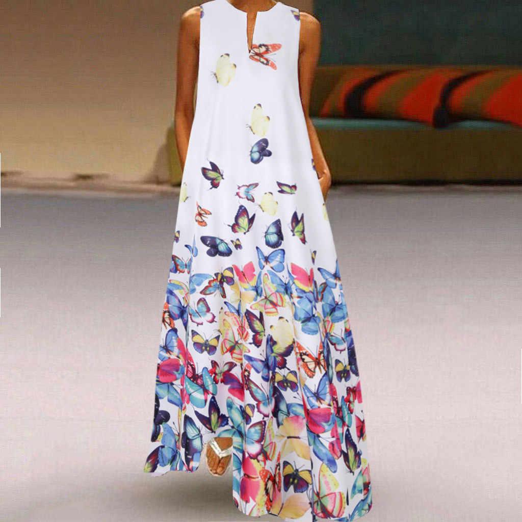 Womens Sleeveless Butterfly Maxi Dress Casual Beach V neck Sundress Plus Size UK