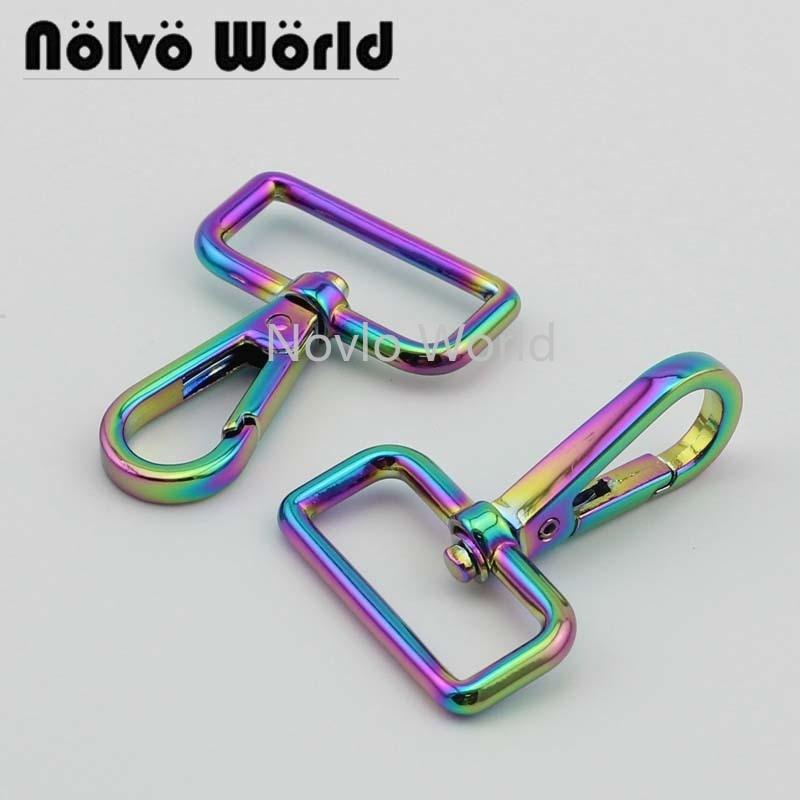Wholesale 500pcs, 53*32mm 1-1/4 Inch, Rainbow High Fashion Metal Buckle Handbag Purse Snap Hook Lobster Buckle Diy Clasp Hooks