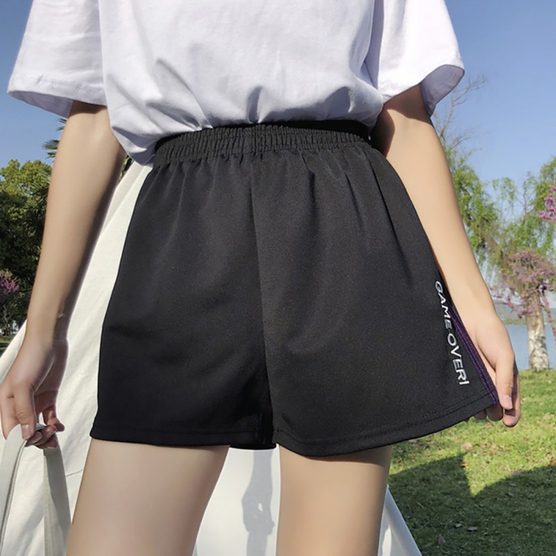 Women Wide Leg Loose High Waist Sports Shorts Fashion Striped Casual Harajuku Shorts Streetwear For Cool Girl Running Shorts