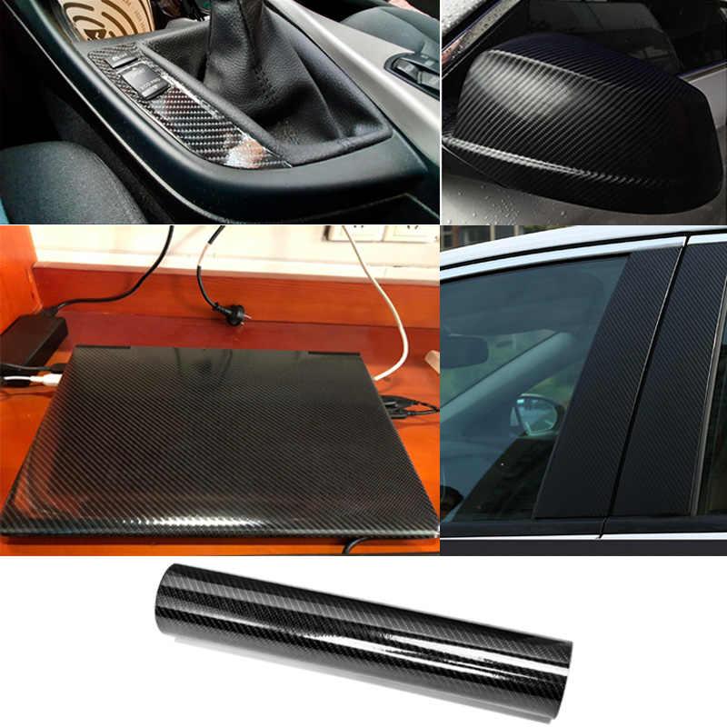 6D คาร์บอนไฟเบอร์ไวนิลห่อฟิล์ม Glossy รถสติกเกอร์คาร์บอนไฟเบอร์ไวนิลรถ Wrap แผ่นม้วนฟิล์มสติกเกอร์รถยนต์และ Decals ผิว