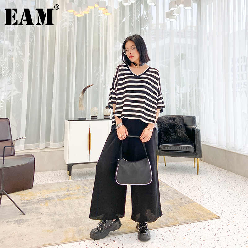 [EAM] Wide Leg Pants Striped Irregular Two Piece Suit New V-Neck Black Loose Fit Women Fashion Tide Spring Summer 2020 1U198