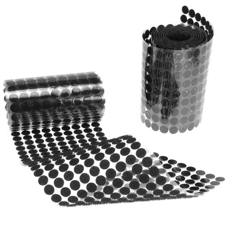 1000 Pairs Practical Black Nylon Polyester Strong Paste Tape Stickers Round Double-sided Adhesive Fastener Tape Dots