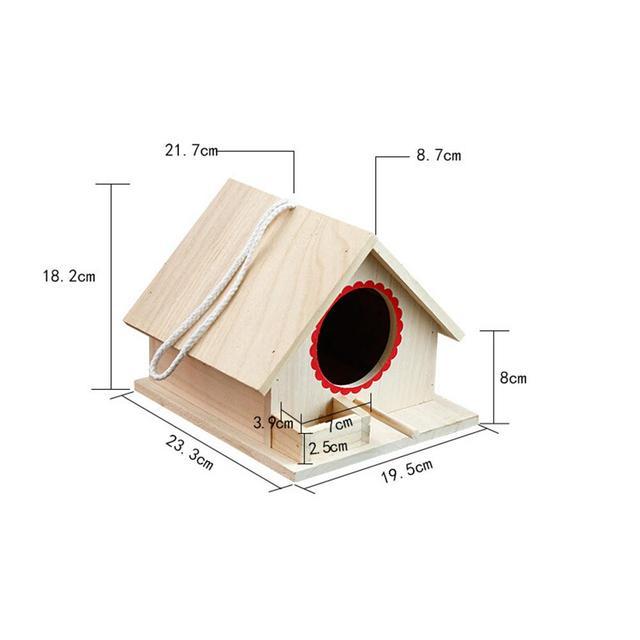 Bird Pet Nest Wooden Birdhouse Small Outdoor Garden Parrot Bird Nest Wooden Bird House Bird Cage Pet Supplies 1