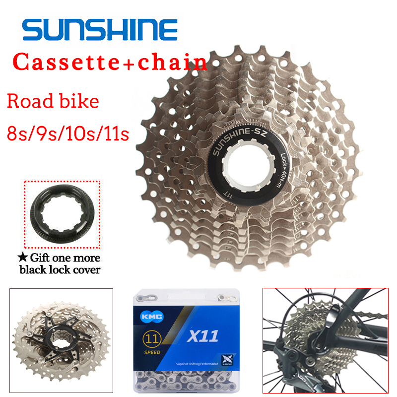 BOLANY 8//9//10//11 Speed Road Bike Silver Cassette 11-25//28//32//36T KMC Steel Chain